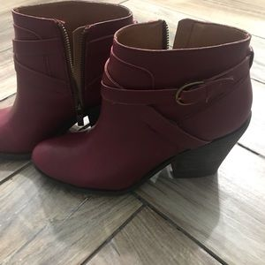 Lucky Brand leather booties with buckle detail